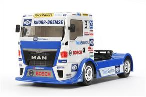 Tamiya brings 58632 a 1/10th TT-01E Radio Controlled kit of a Team Han MAN TGS Racing TruckGlue and paints are required