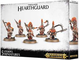 This multi-part plastic kit gives you the components necessary to build five Auric Hearthguard, armed with magmapikes and fyresteel throwing axes.Seventy-six components in total, with five Citadel 32mm Round bases.Alternatively, this kit can be used to assemble five Hearthguard Berzerkers.