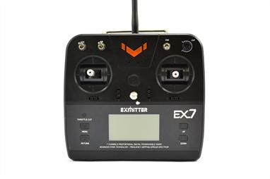 Volantex's range extends to radios with the new Exmitter EX7 2.4ghz unit. This 7-channel radio features a 6 model memory that can be programmed directly from the in-built digital LCD display. The user friendly three level menu display provides the user with a whole host of adjustability for throttle, ailerons, elevator, rudder, gear as well as aux channels. In addition the wide, lightweight ergonomic design means provides super comfort while in use.