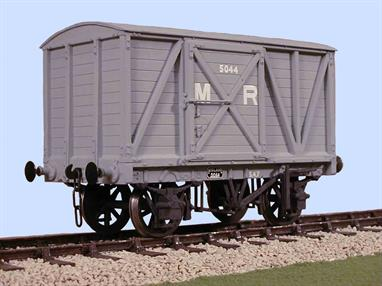 A plastic kit to build a model of the Midland Railway 8-Ton box van. Some of these distinctive short length vans survived into the British Railways era.