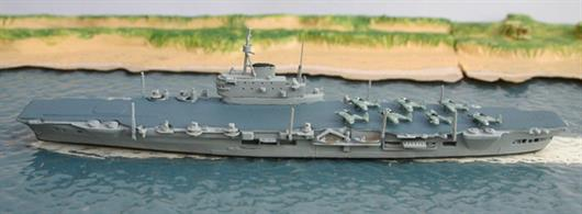 A 1/1250 scale secondhand model of HMS Implacable by Hai 300. This model is in very good condition and has post war aircraft on deck.