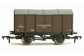 Model of a standard type gunpowder van finished in Southern Railway livery.All-steel gunpowder vans were used to convey all forms to explosive and highly flammable materials, ranging from commercial blasting explosives for mining and quarrying to the various explosives used by the military for filling and firing ordnance.