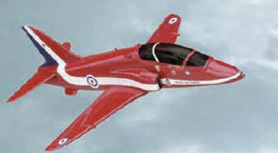 <p>Corgi showcase size model of the famous RAF Red Arrows BAe Hawk aircraft. Painted in the RAF display teams' flame red colours, </p>
