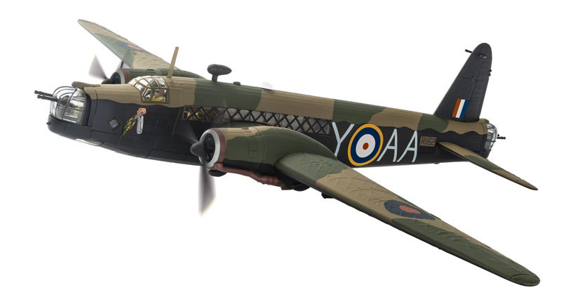 "Corgi Models AA34811 1/72 Scale Vickers Wellington R1162 / AA-Y, Y for Yorker based at RAF Feltwell in Norfolk during 1941<br><span class=""yui-non"">Wingspan 260mm</span>"
