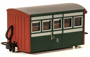 Detailed model of the Festiniog Railway 'Bug Box' first class coach. A typical early Victorian era design of 4-wheel narrow gauge coach.Early preservation era green livery.