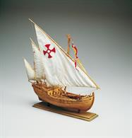 "This little ship formed part of the fleet commanded by Christopher Columbus for his voyage of discovery in 1492. She was originally named ""Santa Clara"" but was nicknamed and became widely known as ""Nina"". There are not many contemporary evidences on the two caravels, except for the few oblique references that can be found in a resume of Columbus Journal. Nevertheless two things are pretty sure: both ships belonged to the Pinzon family and at the very beginning both of them had lateen sails. Then during the first stop at the Canary Island the Pinta replaced its lateen sails with square sails. This operation, together with the substitution of the mast delayed the departure of four weeks. Columbus always referred to Niña and Pinta as the Caravels The kit includes laser cut frames for keel & bulkheads, and exotic wood strip for hull planking. Also included is the wooden deck planking, masts and spars, resin and wooden fittings, cloth for the sails and flags. The instruction booklet is very detailed, taking you through every step of construction.Scale 1:65, Length: 370mm.Skill Level 2"
