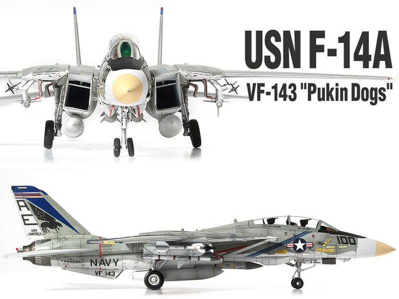 1//72 USN F-14A VF-143 PUKIN DOGS US Navy Aircraft Plastic model 12563 Academy