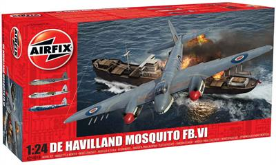 Airfix A25001a a is 1/24th scale plastic kit of the World War 2 RAF DH Mosquito FBV Fighter Bomber