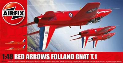 Airfix A05124 is a 1/48th Scale plastic kit of the Red Arrows Gnat Aerobatic Team Jet Aircraft
