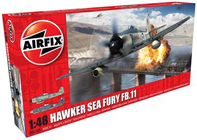 Airfix A06105 is the new 1/48th scale Plastic Kit Tooling of a British Hawker Sea Fury FB.II  flown by the Fleet Air Arm