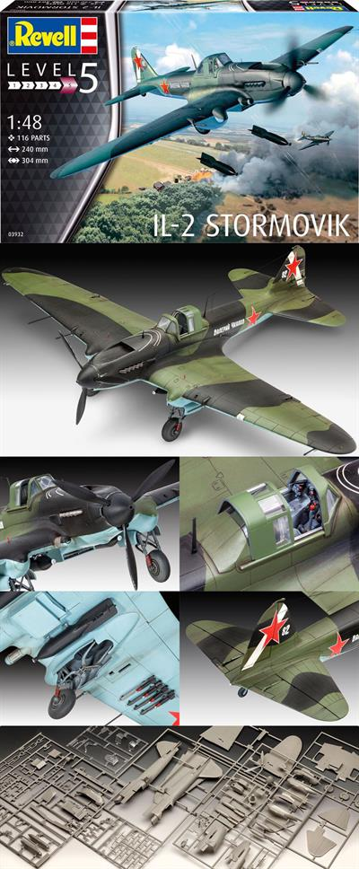 Revell 03932 is a 1/48th scale plastic kit of a Russian WW2	IL-2 Stormovik Fighter Bomber