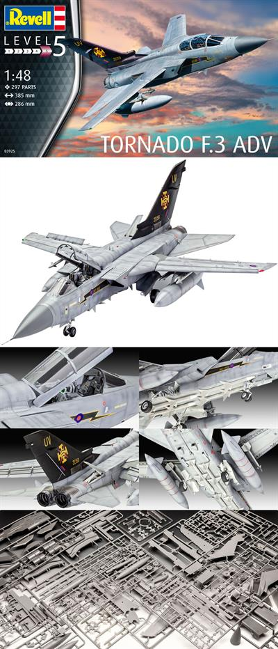 Revell 03925 1/48th scale plastic kit of the Royal Airforce's Tornado F.3 ADV Air Defence Variant Jet Fighter