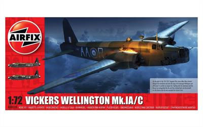 Airfix A08019 is a 1-72 Plastic Kit of a Vickers Wellington Mk.IC Bomber Aircraft