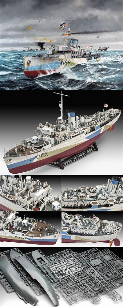 Revell 05132 is a 1:144 scale plastic kit of HMCS Snowberry an early Flower class corvette WW2 convoy escort vessel.